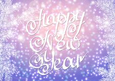 Vector illustration. Congratulation card. Lettering happy new year background with highlights and fir branches Stock Photos