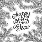 Vector illustration. Congratulation card. Lettering happy new year background with highlights and fir branches royalty free illustration
