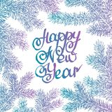 Vector illustration. Congratulation card. Lettering happy new year background with highlights and fir branches Royalty Free Stock Photo