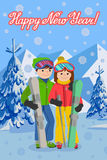 Vector illustration of congratulation card new year couple young people man and woman in a flat design on mountain Royalty Free Stock Photos