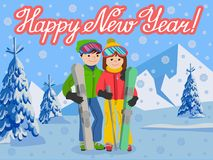 Vector illustration of congratulation card new year couple young people man and woman in a flat design on mountain Royalty Free Stock Photography