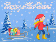 Vector illustration of congratulation card new year with little child pulling a sled, cartoon style lettering. Vector illustration of congratulation card new Stock Photo