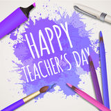 Vector illustration with congratulations Happy teaches day Stock Image
