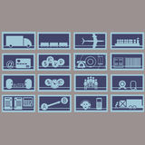 Vector illustration, consisting of 12 icons. Representing cargo transportation vector illustration