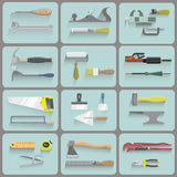 Vector illustration, consisting of 12 icons. Representing tools for repair stock illustration