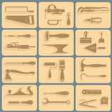 Vector illustration, consisting of 12 icons. Representing tools for repair Stock Photo