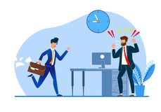 Vector Illustration Constant Late Arrival Flat. Chief Enraged Watching  Behavior Subordinate. Man Suit is Angry with Colleague for Failure to Meet Deadlines stock illustration