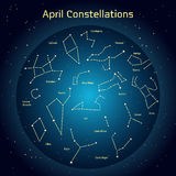 Vector illustration of the constellations of the night sky in April. Glowing a dark blue circle with stars in space Design elements relating to astronomy and Stock Photography