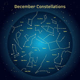 Vector illustration of the constellations of the night sky in Desember. Glowing a dark blue circle with stars in space Royalty Free Stock Photo