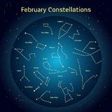 Vector illustration of the constellations of the night sky in February. Glowing a dark blue circle with stars in space Design elements relating to astronomy Stock Illustration