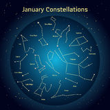 Vector illustration of the constellations of the night sky in January. Glowing a dark blue circle with stars in space Design elements relating to astronomy and Royalty Free Stock Images