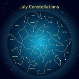 Vector illustration of the constellations  the night sky in July. Glowing a dark blue circle with stars in space Royalty Free Stock Image