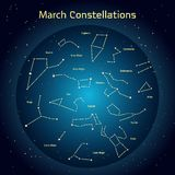 Vector illustration of the constellations of the night sky in March. Glowing a dark blue circle with stars in space Design elements relating to astronomy and Vector Illustration
