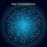 Vector illustration of the constellations  the night sky in May. Glowing a dark blue circle with stars in space. Vector illustration of the constellations of the Royalty Free Stock Photography
