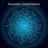 Vector illustration of the constellations  the night sky in November. Glowing a dark blue circle with stars in space Stock Image