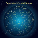 Vector illustration of the constellations  the night sky in September. Glowing a dark blue circle with stars in space. Vector illustration of the constellations Stock Image