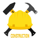 Vector illustration of construction, worker s helmet and hammers. Royalty Free Stock Photography