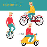 Vector illustration contains set of city traveler in three different situations Stock Image