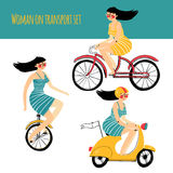 Vector illustration contains set of city traveler, woman in three different situations Royalty Free Stock Image