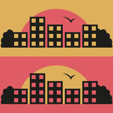 Vector illustration of contrast city on sunrise Royalty Free Stock Image
