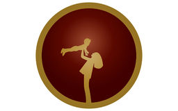 Vector illustration of a contrasting symbol mother with child in hands brown on a dark brown round background with a white highlig Stock Photography