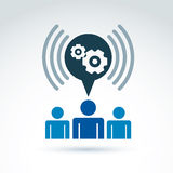Vector illustration of conversation on enterprise system theme,. Strategy concept. Podcast symbol. Cog-wheels and gears placed in a speech bubble – chat on Royalty Free Stock Image