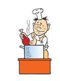 Vector illustration of the cook stock photos
