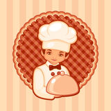 Vector illustration of the cook. On a brown background Stock Photos