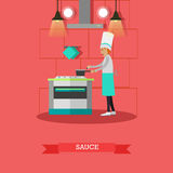 Vector illustration of cook preparing sauce in flat style royalty free illustration