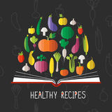 Vector illustration of cookbook with vegetables Royalty Free Stock Image