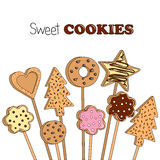 Vector illustration of cookies on a wooden stick Royalty Free Stock Image