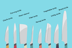 Vector illustration of cooking knifes set stock illustration