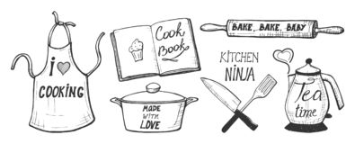 Cooking labels and quotes stock illustration