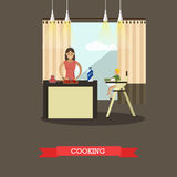 Vector illustration of cooking mother with her son in kitchen. royalty free illustration