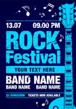 Vector illustration cool blue rock concert festival flyer design template with guitar Royalty Free Stock Images