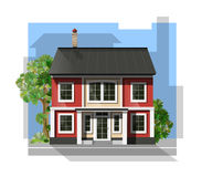 Vector illustration of  cool detailed family  house. Royalty Free Stock Image