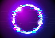 Vector Illustration glitched glow circle frame design. Modern distorted glitch style background. Graphic Design for Banner, Poste royalty free illustration
