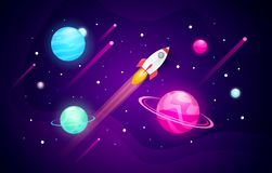 Vector illustration space exploring background with abstract shape, planets and rocket. Vector illustration cool space exploring background with abstract shape royalty free illustration