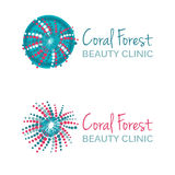 Vector illustration with coral symbol. Logo design. For beauty salon, spa center, health clinic. Royalty Free Stock Image