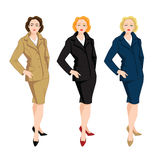 Vector illustration of corporate dress code. Business women in blue, beige and black formal skirt and jacket Stock Images