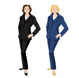 Vector illustration of corporate dress code. Business women in blue and black formal suit and classic shoes Royalty Free Stock Image
