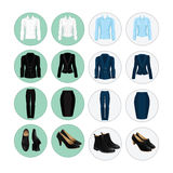 Vector illustration of corporate dress code. Office uniform. Icon with clothes for business people. Pair of black formal shoes Royalty Free Stock Photo
