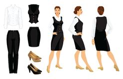 Vector illustration of corporate dress code. Business woman or professor in  formal clothes. Front view, side and back view. White shirt, black pants, vest Stock Image