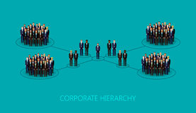 Vector illustration of a corporate hierarchy structure. leadership concept. management and staff organization. Vector flat illustration of a corporate hierarchy Stock Images