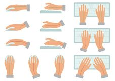 Correct and incorrect hand position for use keyboard and holding mouse. Vector illustration of correct and incorrect hand position for use keyboard and holding Stock Photo
