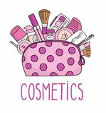 Vector illustration cosmetic bag with cosmetics. on a white background. A set of cosmetics - lipstick, mascara, comb, shadows, a b Stock Photos