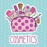 Vector illustration cosmetic bag with cosmetics. on a white background.  Royalty Free Stock Photo