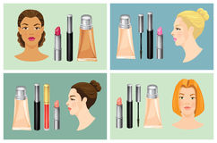 Vector illustration of of cosmetics set. Lipstick, mascara and foundation  on white. Face in front and profile. Various turn head Stock Images