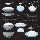 Vector illustration with cottage cheese, strawberry, spoons. Stock Photo