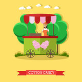 Vector illustration of cotton candy trolley and salesgirl, flat style Royalty Free Stock Photos